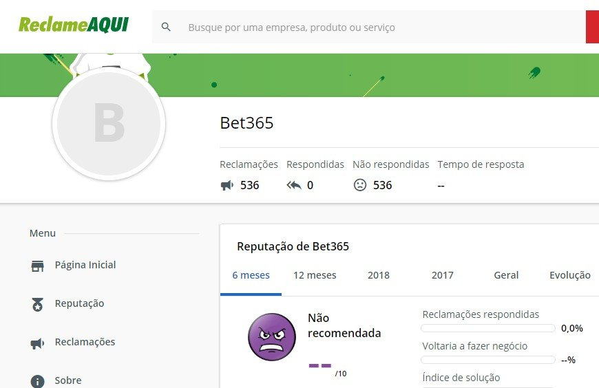 foto Como Anda a bet365 poker no site do Reclame Aqui