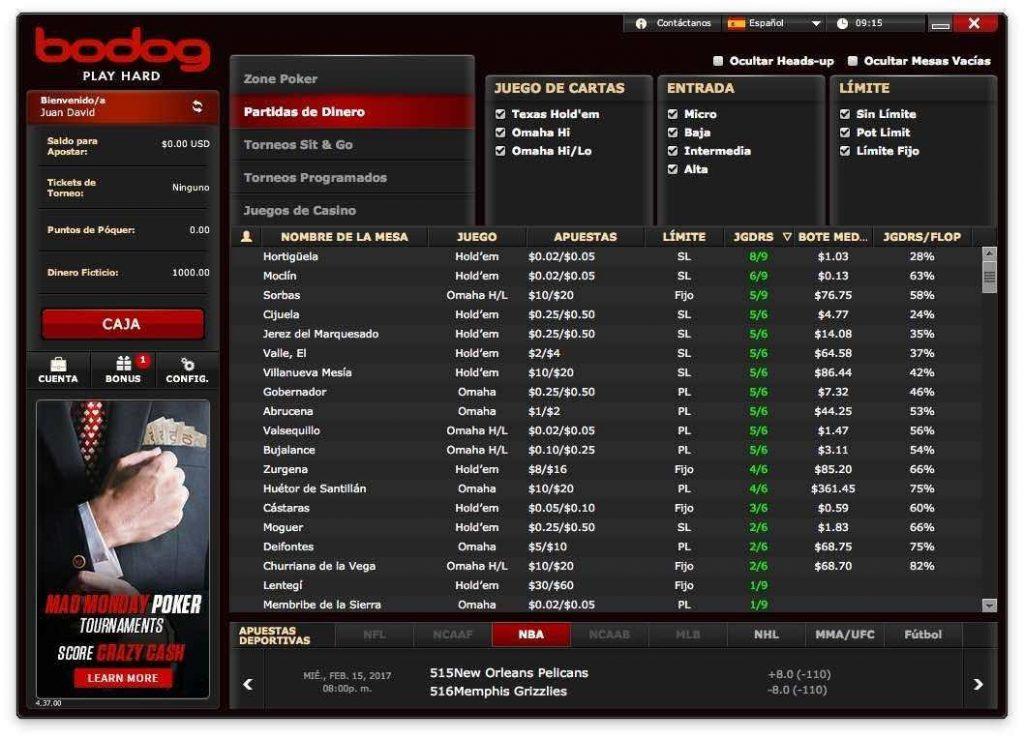 foto de interface da bodog poker